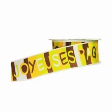 Brown Green and Yellow Multi Joyeuses Pâques Block Letters Ribbon (1.5in)