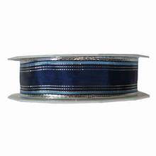 Ruban à rayures bleu poudré, argentée et bleu marine (25mm)