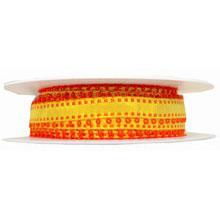 Ruban jaune avec picots orange (15mm)