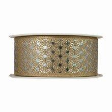 Gold Ribbon with Metallic Geometric Stars (1.5in)