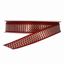 Red and Silver Herringbone Twinkle Ribbon (0.5in)