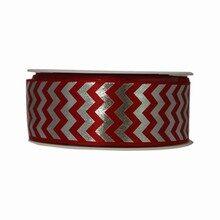 Red and Silver Herringbone Twinkle Ribbon (1.5in)