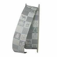 Christmas Quilt Grey and White Ribbon (1in)