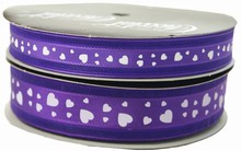 Valentine ribbon white hearts on purple (0.5in)