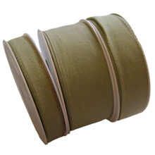 Linen finished ribbon, sage green (15-25-40mm)