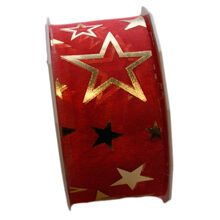 Metallic gold star ribbon on red background (40mm)