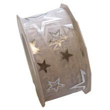Metallic silver star ribbon on white background (1.5in)