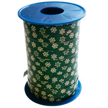 Green ribbon with snowflakes