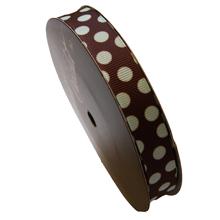 Ruban marron motif pois couleur menthe (15mm)