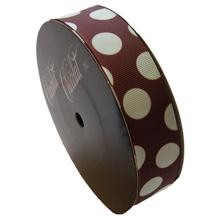 Ruban marron motif pois couleur menthe (25mm)