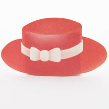 Red boater hat