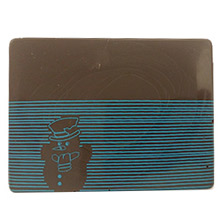 Plaque à remplir-Embout de bûche rectangulaire ''Bonhomme de Neige et lignes bleu''