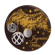 Blister Christmas Tree and Ornaments ''Joyeuses Fêtes'' in White and Gold