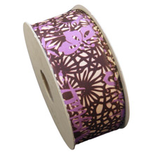 Abstract Brown and Purple Floral Ribbon (1.5in)