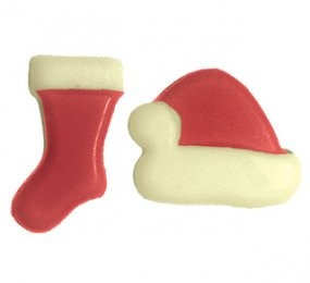 Blister Christmas hats and stockings red printed