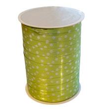Ruban bolduc motif floral vert lime métallique