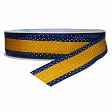 Gold and Navy Hellenique Print Ribbon (1in)