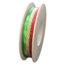 Red, gold and green metallic ribbon (0.5in)