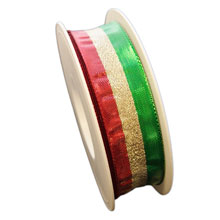 Red, gold and green metallic ribbon (1in)