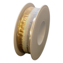 Ruban métallique argent, or et blanc opalescent (25mm)