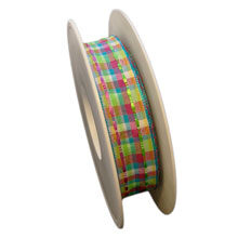Multi-colored wired ribbon with transparency (1in)