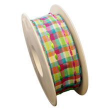 Multi-colored wired ribbon, with transparency (1.5in)