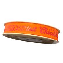 Orange ribbon with fuchsia writing (0.5in)