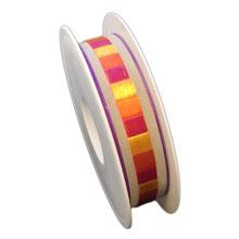 Ruban laitonné multicolore, finition lin avec carrés de couleur (25mm)