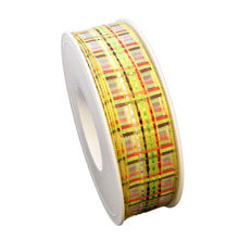 """Multi-colored """"Summer"""" plaid ribbon (1in)"""