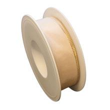 Ruban beige bordure or (25mm)