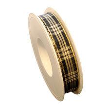 Black ribbon, glossy tartan (0.5in)