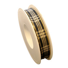 Ruban noir, écossais brillant (15mm)