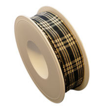 Black ribbon, glossy tartan (1in)
