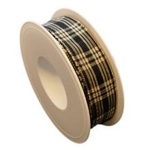 Ruban noir, écossais brillant (25mm)