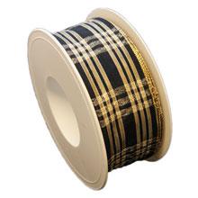 Black ribbon, glossy tartan (1.5in)