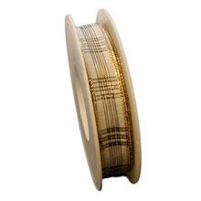 Ruban ivoire, écossais brillant (15mm)