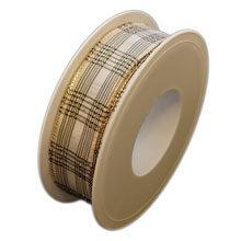 Ivory ribbon, tartan glossy (1in)
