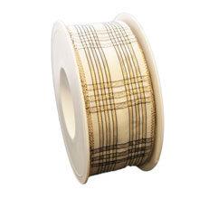 Ivory ribbon, tartan glossy (1.5in)