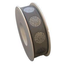 Gray glitter dot ribbon (1in)