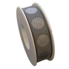 Ruban gris à pois scintillant (25mm)