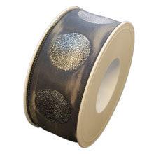 Grey glitter dot ribbon (1.5in)
