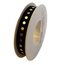 Black ribbon with gold dots (0.6in)