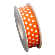 Orange ribbon, with white dots (1in)