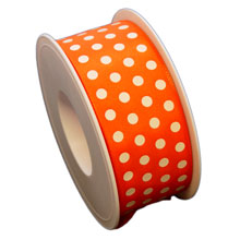 Orange ribbon, with white dots (1.5in)
