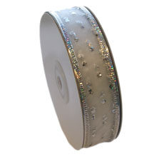 RIBBON, silver sparkling dots (1in)