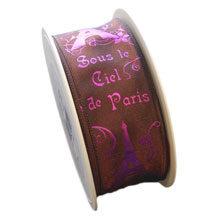 """Brown taffeta ribbon """"Sous le ciel de Paris"""""""