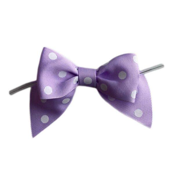 Lilac polka dot bow on ties