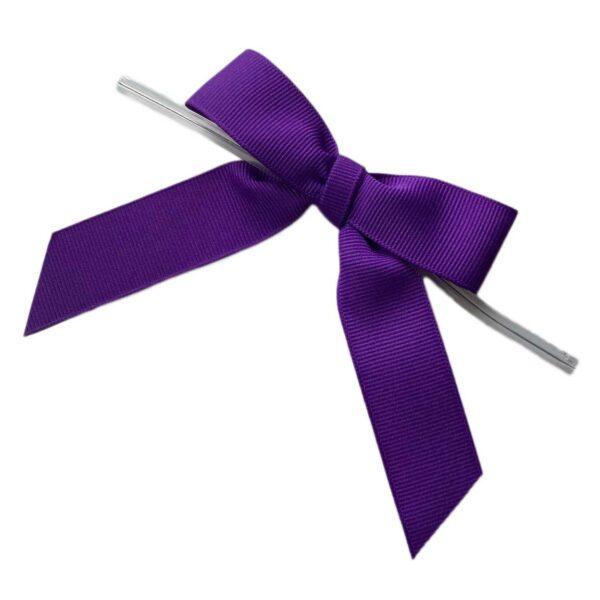 Purple Twisted Bows - Grosgrain