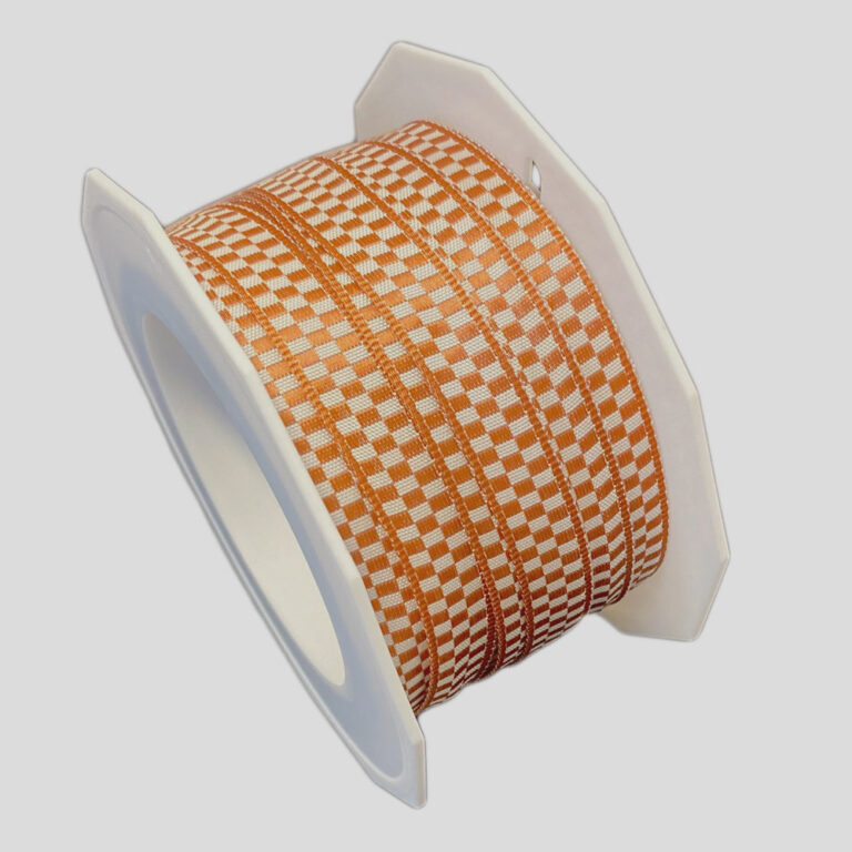 Brown and beige checkered ribbon (0.4in)