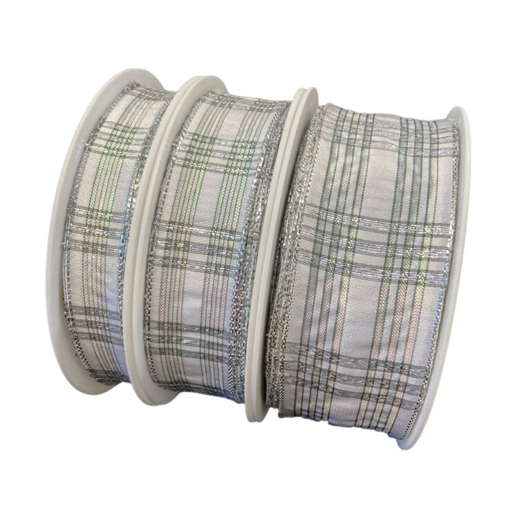 White shiny tartan ribbon